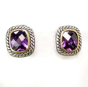 Jewelry - Amethyst Cable and Filigree Silver Earrings